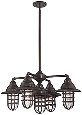 "Marlowe 32""W Nautical Bronze 5-Light Outdoor Chandelier"