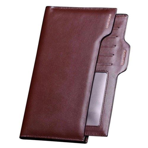 Genuine Leather Men's Bifold Wallet Purse Card Cash Receipt Holder Organizer NEW ( Brown long style )