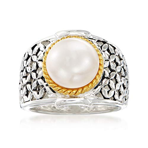 Ross-Simons 9.5-10mm Cultured Button Pearl Ring in Two-Tone Sterling Silver