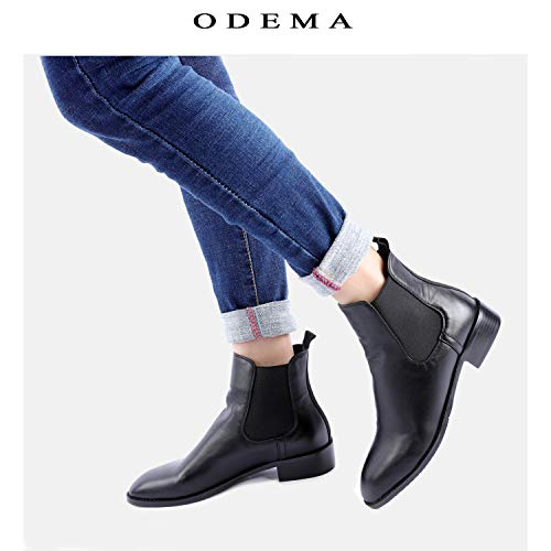 2590efd8197b Odema Women s Sahara PU Leather Chelsea Boots Low Heel Elastic Slip On Ankle  Booties