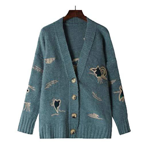 (ジュンィ) レディース ニットセーター Vネック カーディガン セーター 前開き 刺繍 長袖 カジュアル 秋冬 オフィス