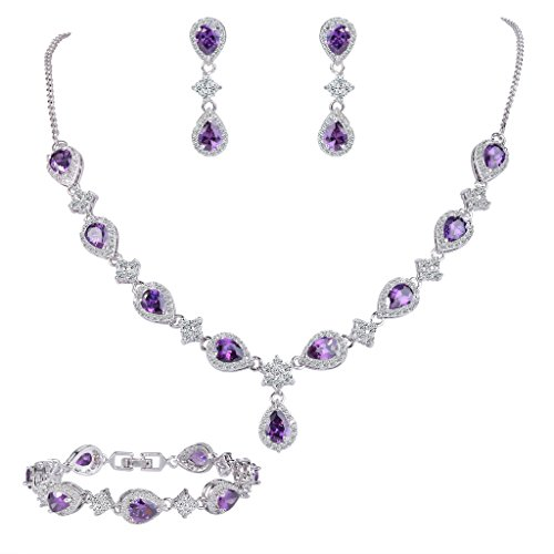 Silver Costume Jewellery (EleQueen Women's Silver-tone Cubic Zirconia Teardrop Flower Bridal V-Necklace Set Tennis Bracelet Dangle Earrings Amethyst Color)
