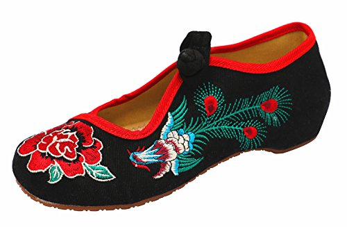 Icegrey Women's Peony Embroidery Mary Jane Prom Shoes Black bdumB9WjxB