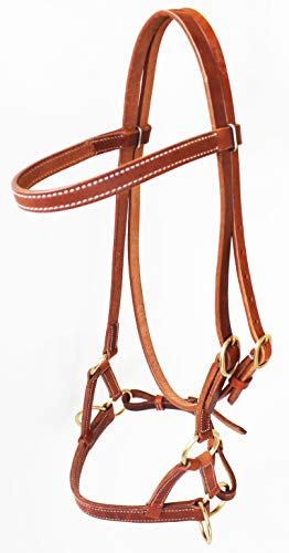CHALLENGER Amish USA Horse Western Harness Leather Bitless Side Pull Bridle Brass 77RT01 ()