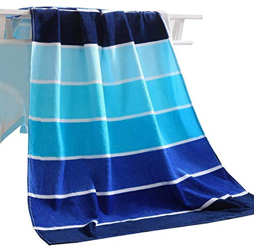 Exclusivo Mezcla 100% Cotton Beach Towel, Pool Towel Gradient Blue Striped (30