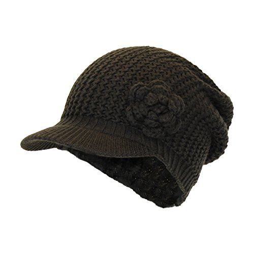 Chocolate Brown Cute Crochet Knit Slouch Beanie Hat Cap w/ Front Visor & Attached (Rosette Accent Knit)
