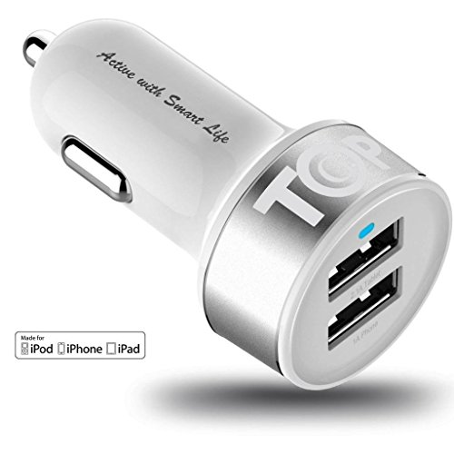 Car Charger Topg Smart Mini 3 1A High Output 2 Port Rapid Usb Car Charger With Smartic Technology   Retail Packaging   White Silver