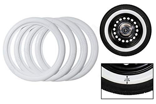 - Whitewall Tires Topper 4X 14 Wheel White Wall Port-O-Wall Rubber Classic Style