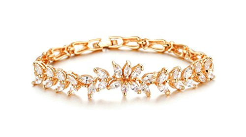 ANAZOZ Cubic Zirconia 18K Gold-Plated Bracelets Hollow Petal Width 17.50.5cm Gold for Women