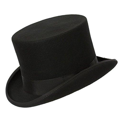 9th Street Opera' Topper Classic Elegant Top Hat 100% Wool (Small (fits 6 3/4-6 7/8, 21 1/8