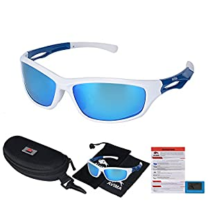 AVIMA BEST Unisex Polarized Tr90 Unbreakable Frame Sports Sunglasses for Running Baseball Cycling Fishing Volleyball Driving Skiing Golf Traveling (White/Blue With REVO Blue Lens)