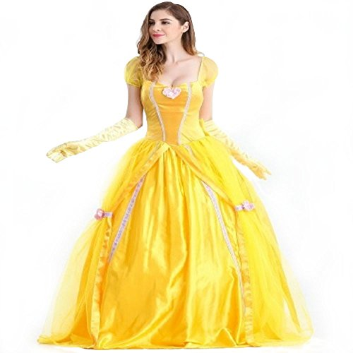 Disney Princess Belle Adult Costumes (Adult Disney Princess Belle Inspired by Beauty and the Beast Dress Costume Cosplay Halloween Party Dress (M))