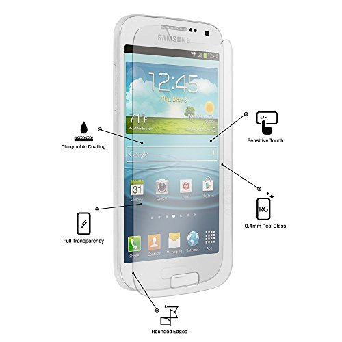 zolink for Samsung Galaxy S4 Mini Premium Real Tempered Glass Screen Protector Hd Clarity. 8-9h Hardness. Rounded Edges.