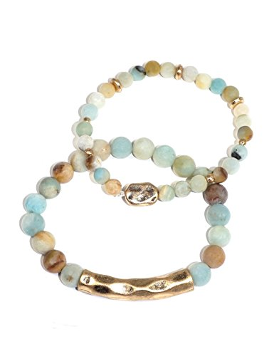 [Handmade Double Layered Natural Stone Stretch Bracelet] Amazonite (1/5) (Stone Amazonite Pendant)
