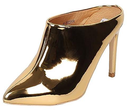 Cape Robbin Women's Closed Pointed Toe High Stiletto Heel Slide Mule Bootie (8.5 B(M) US, Gold)