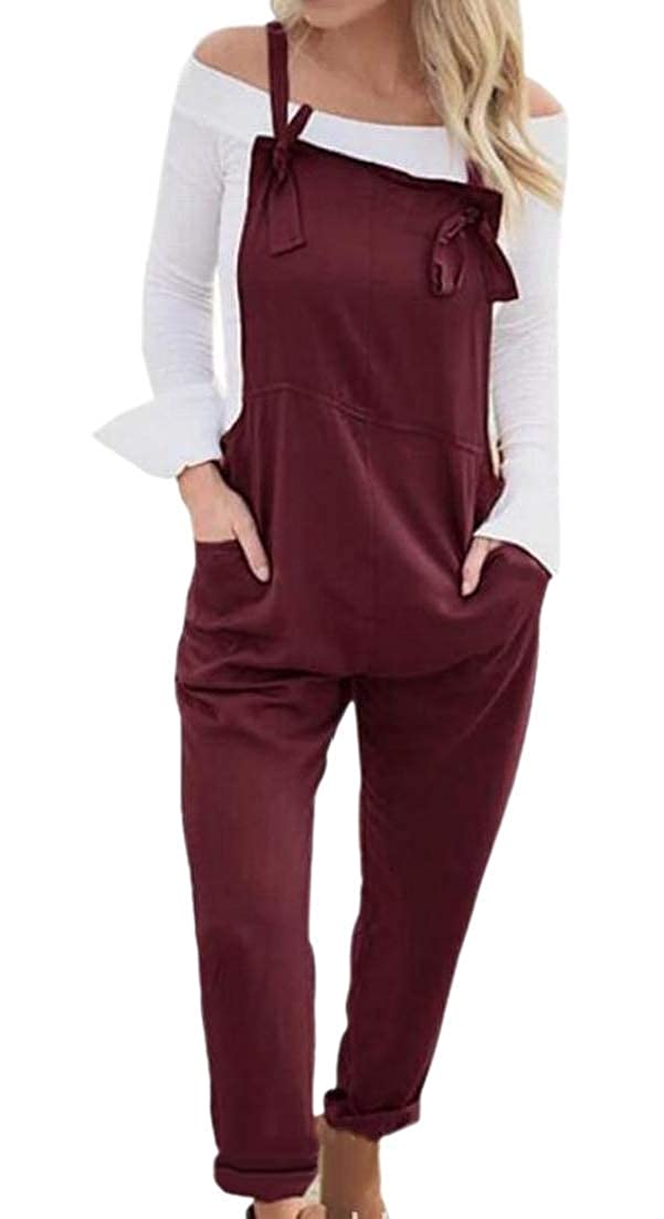 Alion Womens Straight-Legs Bib Pocket Long Skinny Fit Overalls Jumpsuits