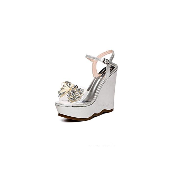 Bailing Sandali Di Estate Delle Donne cunei Tallone Impermeabile bowknot Strass Inferiore scarpe Femmina Piccole Dimensioni Silver Cn34