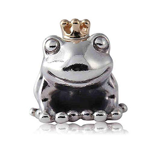 - Pukido Authentic 925 Sterling Silver Bead Charm Cute Frog Prince with Gold Crown Beads Fit Pandora Bracelet Bangle DIY Jewelry