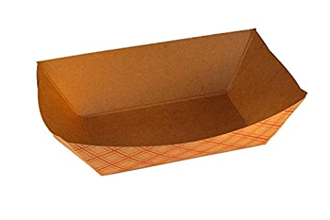 BROWN and RED Kraft Paper Food Trays Great for Parties, Takeout, Home Use, Outdoor (50, 4