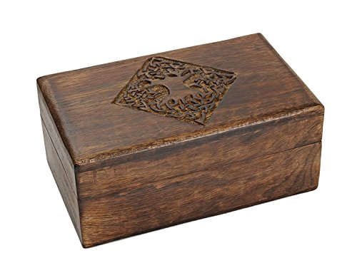 storeindya, Wooden Handmade Multi Utility Storage Box, Organize your precious-Diamond Jewelry-Watches-Trinkets-Pen-Medicines-Cufflings-Cosmetics-Cigar- for Men Women(Small Tree of Life Collection) ()