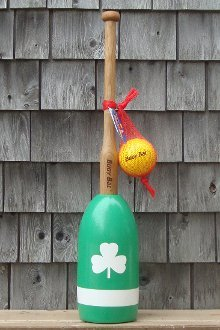 Buoy Bat Outdoor Game Ball and Bat Set - Green Body with White Shamrock and Stripe made in Maine