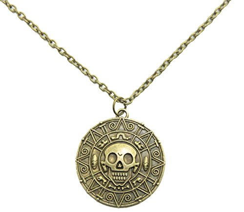 Inspired By Pirates of the Caribbean Movies Cursed Aztec Coin Medallion Necklace Skull Necklace