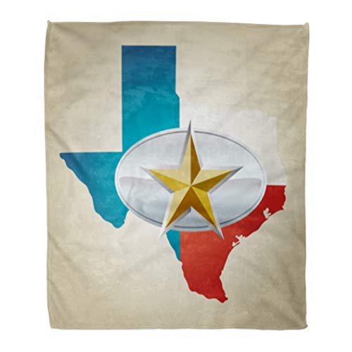 Golee Throw Blanket Blue Texas Flag and State Shape Star Belt Buckle Red 60x80 Inches Warm Fuzzy Soft Blanket for Bed Sofa ()