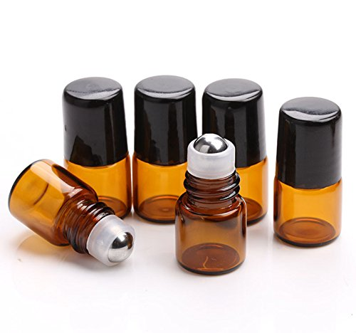 Link Screw Ball (Furnido 25 pcs 1mL/2ml Empty Amber Mini Glass Roll on Perfume Bottle Refillable Stainless Steel Roller Ball Essential Oil Liquid Bottle With Black Caps Mini sample vials cosmetics small bottles (1ml))