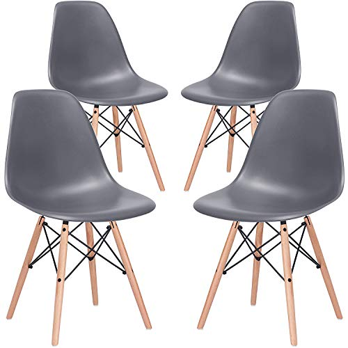 - Nicemoods Armless Classic Eames Plastic Chair, Mid Century Modern Style Dining Chairs Indoor Wooden Legs Set of 4 for Kitchen, Dining Room, Bedroom, Living Room Side Chairs (Grey)
