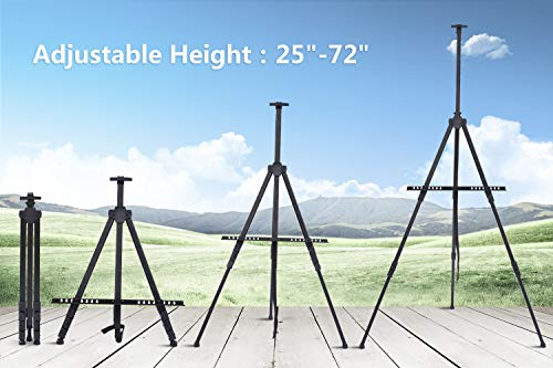 Display Easel Stand, Ohuhu 24-Pack 72'' Aluminum Metal Tripod Field Easel with Bag for Table-Top/Floor, Black Art Easels W/Adjustable Height from 25-72'' for Poster, Paint Back to School by Ohuhu (Image #1)