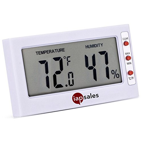 Humidity Display (Easy to Read: Indoor Digital Thermometer and Humidity Meter. Large Digital Display Works in Celsius & Fahrenheit. Simple Temperature & Relative Humidity Monitor)
