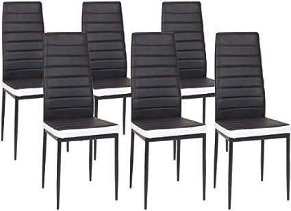 IZTOSS Lot de 6 chaises Romane Noires Bandeau Blanc pour Salle à Manger - livré en 2 à 4 Jours