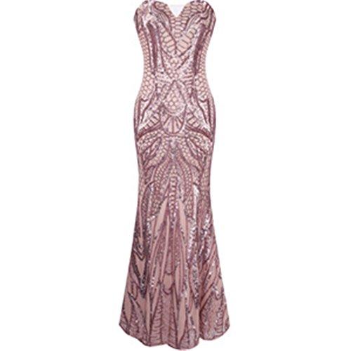 Rosa Sirena Annata Rosa Serata Lunga Vestire 1920 Abendkleid 212 Paillettes Flapper fRHHqw
