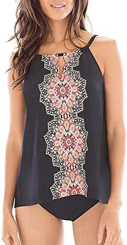 CPUTAN Women's Floral Print Tankini Backless Swimsuit deep v Neck Plus Size Swimwear