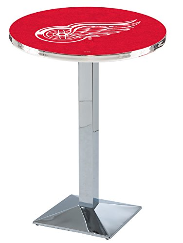 "Holland Bar Stool L217 NHL Detroit Red Wings Officially Licensed Pub Table, 28"" x 42"", Chrome"