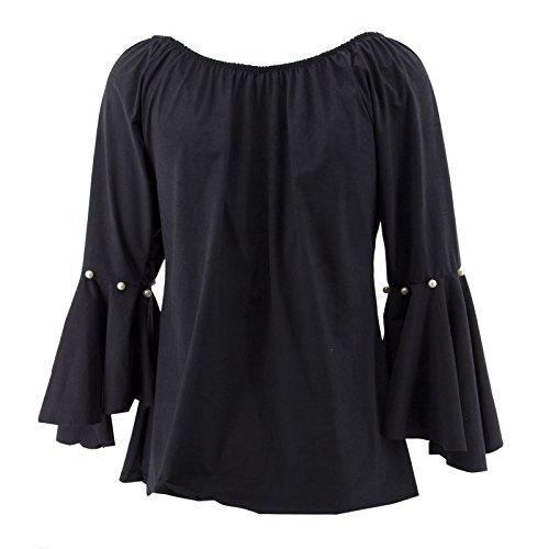 Netgozio Campana Elegante Blusa Lunga Svasate Manica Donna Sexy Camicia Perle Nero Maglia RCx7XqwrR