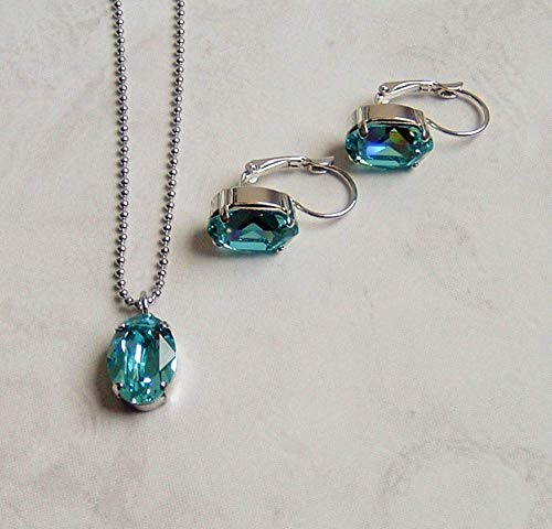Blue Oval Crystal Earring Necklace Set Simulated Turquoise December Birthstone Gift Idea SS