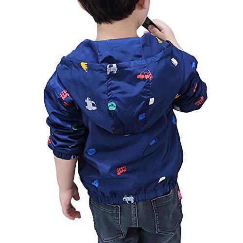 Moonker Baby Jacket 1-5 Years Old,Toddler Girls Boys Children Cartoon Print Zipper Hoodie Wind Coat Outwear Clothes (1-2 Years Old, Dark Blue)