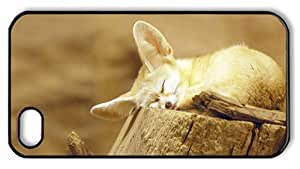 Hipster iPhone 4S case customizable fennec fox snooze PC Black for Apple iPhone 4/4S