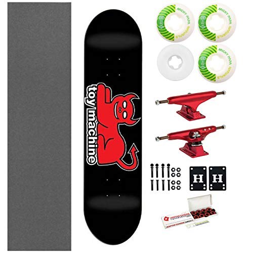 "Toy Machine Skateboard Devil Cat Black 7.625"" with Independent Trucks, Ricta Wheels"