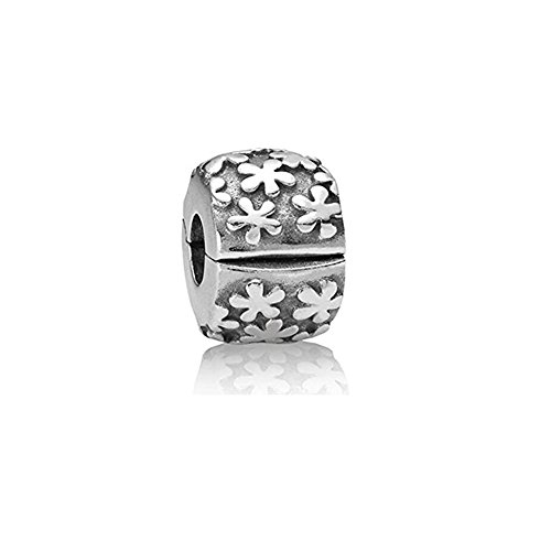 Flower Charm Clip Lock Stopper Beads - 925 Sterling Silver - Fit European Bracelets