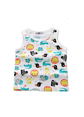 BIGBUY Summer Baby Fruit Printed Cotton Tank Tops Tee Shirts for 0-4 Years Old (90cm(2T), Zoo)