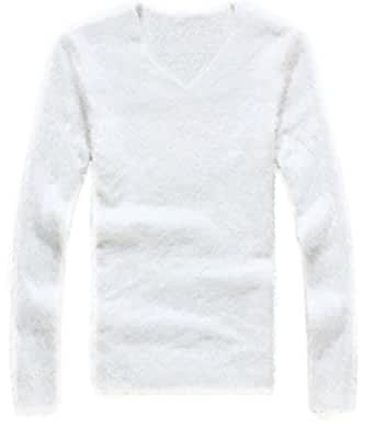 FLCH+YIGE Mens Winter Warm Mohair V Neck Slim Fit Pullover