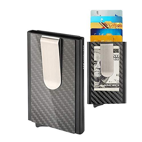 (Mosiyeef RFID Blocking Minimalist Front Pocket Wallet-Compact Credit Card Holder Wallet-Carbon Fiber Money Clip Wallet Black)
