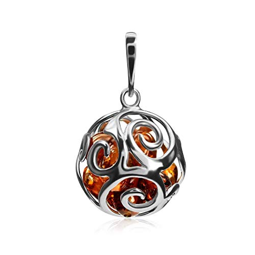 Ian and Valeri Co. Amber Sterling Silver Round Ball Pendant