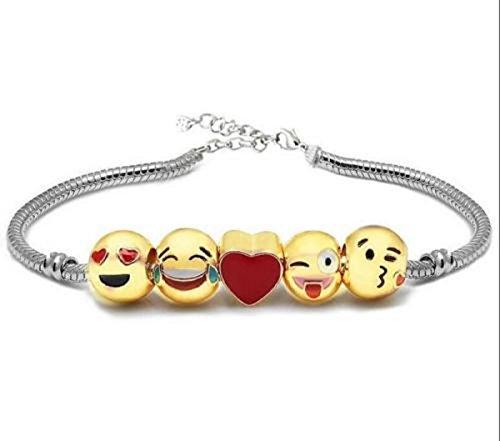 Yeahgoshopping Metal Emoji Beads DIY Charms Bracelet Gold Plate - 1x w/Random Color and Design (Gold Overlay Enamel Childrens)