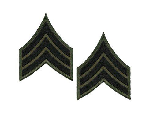 (Black Olive Drab Green Police Deputy Sheriff Military Sergeant Uniform Chevrons)