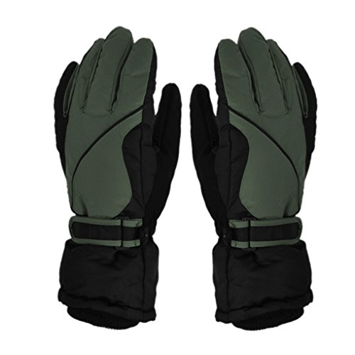 Mens Waterproof Winter Snowboard Skiing Gloves Thermal Thick Windproof Snowproof Mittens Outdoor Sports Camping Hiking Climbing Trekking Cycling Snowmobile Ski Glvoes Hand Warmer Mitts Army Green