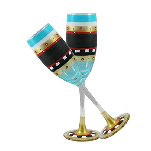 Golden Hill Studio Champagne Flute Glasses Hand Painted in the USA by American Artists-Set of 2-Mosaic Chalk Collection