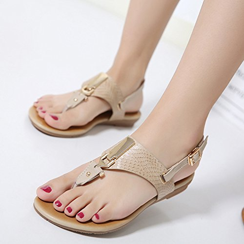 Roman Strappy Women's D2C Thongs apricot Sandals Gladiator Beauty Flat awS66xqfF